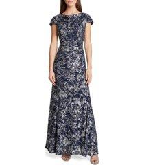 tahari asl lace foil gown