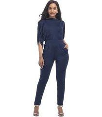 crop tops con capucha de manga larga mono ajustado slim mameluco pantalones largos-azul marino