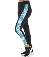 calça legging oxer flores - feminina - azul