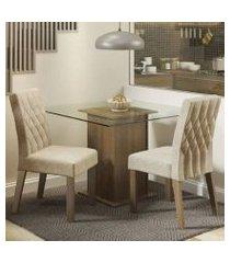 conjunto sala de jantar madesa cassia mesa tampo de vidro com 2 cadeiras rustic/imperial rustic