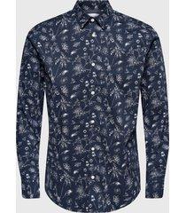 camisa only & sons hogan stretch azul - calce stretch