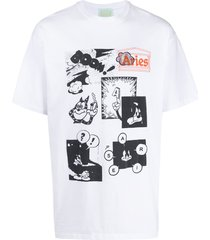 aries patchwork print t-shirt - white