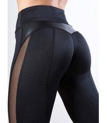 leggings deportivos negros de talle alto de piel sintética