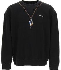 marcelo burlon crewneck sweatshirt with single chain feathers print