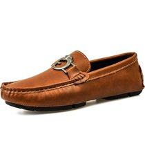 fibbia in metallo da uomo comfy low top soft slip on casual loafers
