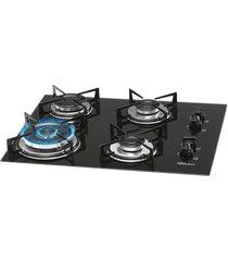 cooktop fischer 4 bocas 9788-12916, tripla chama, mesa vidro, preto