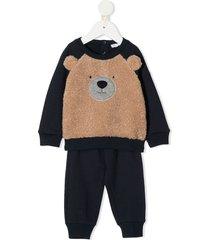 il gufo teddy bear tracksuit set - blue