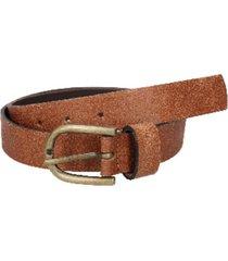 cinturón cuero liso delgado con detalle camel