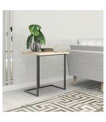 mesa lateral 55 cm preto madeirado claro mdf lilies móveis