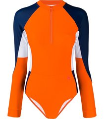 perfect moment long-sleeved surfing swimsuit - orange