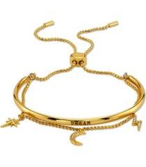 "unwritten ""dream"" cubic zirconia ajdustable bolo gold tone fine plated silver bracelet"