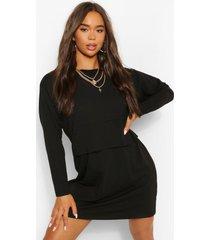 oversized t-shirt jurk met lange mouwen en crewneck, black