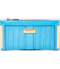 river island womens blue croc embossed foldout purse