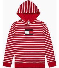 tommy hilfiger women's organic cotton stripe flag hoodie classic brenton stripe/ primary red - m