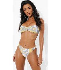 bloemen bikini top met gouden detail en bandjes, yellow