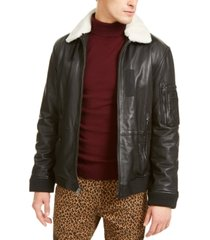 inc onyx men's leather aviator jacket with faux fur collar, created for macy's