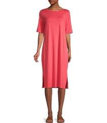 eileen fisher women's jersey elbow-sleeve dress - pink grapefruit - size s