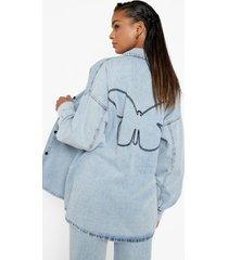 denim overhemd met vlinder borduursel, ice blue