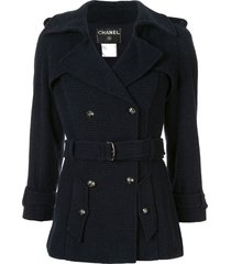 chanel pre-owned woven fitted belted jacket - blue