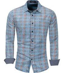 colletto da uomo manica lunga in cotone a maniche lunghe con bottoni rovesciati da uomo, camicia