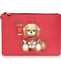 moschino roman teddy bear flat clutch w/wristlet