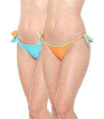 calcinha alto giro string dupla face azul/laranja
