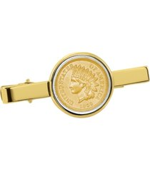 american coin treasures gold-layered 1800's indian penny coin tie clip