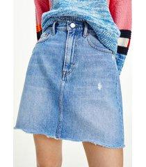 tommy hilfiger women's high waist distressed denim skirt denim light - 27