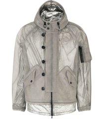 dolce & gabbana hooded coated mesh jacket - grey