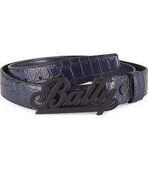 crocodile-embossed leather belt