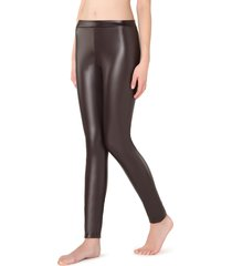 calzedonia - thermal leather-effect leggings, l, brown, women
