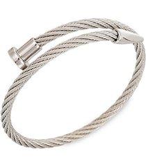 leo silvertone titanium cable spike cuff bracelet