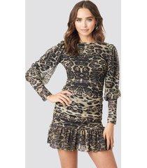trendyol leopard drape detailed dress - multicolor