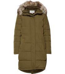 vicalifornia new down coat/su-noos gevoerde lange jas groen vila