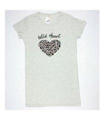 camisola manga curta feminino meia malha gola u brezzi estampa wild heart cor mescla