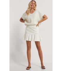 na-kd kjol med volanger - white