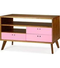 rack para tv até 47 polegadas 3 gavetas holly 120 cm 505 nogal/rosa cristal - maxima