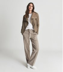 reiss rae - suede leather funnel neck jacket in stone, womens, size 12