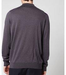 john smedley men's cbelpar long sleeve polo shirt - anthracite - xxl