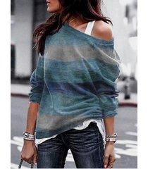 blue color block random stripe one camiseta de punto de hombro