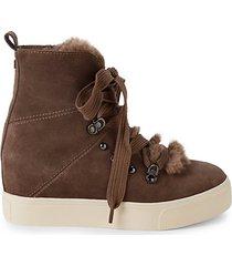 whitney faux fur & suede hidden wedge-heel booties