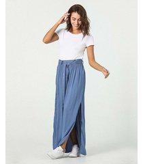 falda larga con recogido en cintura
