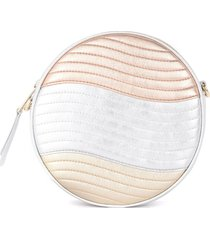furla shoulder bag model swing mini in gold, silver and powder pink quilted leather