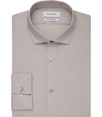 calvin klein infinite non-iron taupe slim fit dress shirt