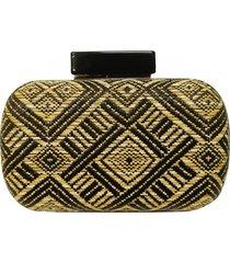bolsa real arte clutch de palha étnica - kanui