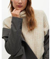 mango women's high collar ribbed knit sweater