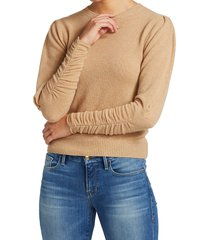 frame women's gabby recycled cashmere & wool puff-sleeve sweater - caramel heather - size l