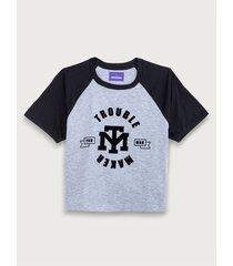 camiseta crop estampada mangas a contraste para mujer freedom 01801