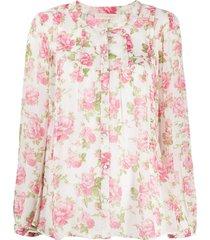 loveshackfancy goodwin floral silk blouse - pink