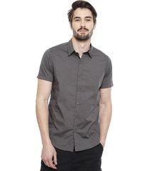 camisa brave soul gris - calce regular